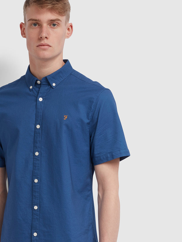 Brewer Slim Fit Short Sleeve Oxford Shirt In Dusky Blue