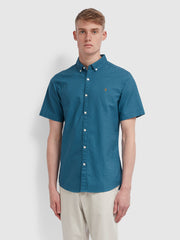 Brewer Slim Fit Short Sleeve Oxford Shirt In Hudson Blue