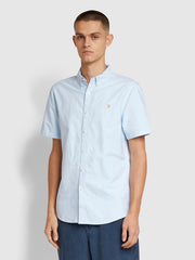 Brewer Slim Fit Short Sleeve Oxford Shirt In Sky Blue