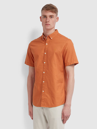 Brewer Slim Fit Short Sleeve Oxford Shirt In Moroccan Orange