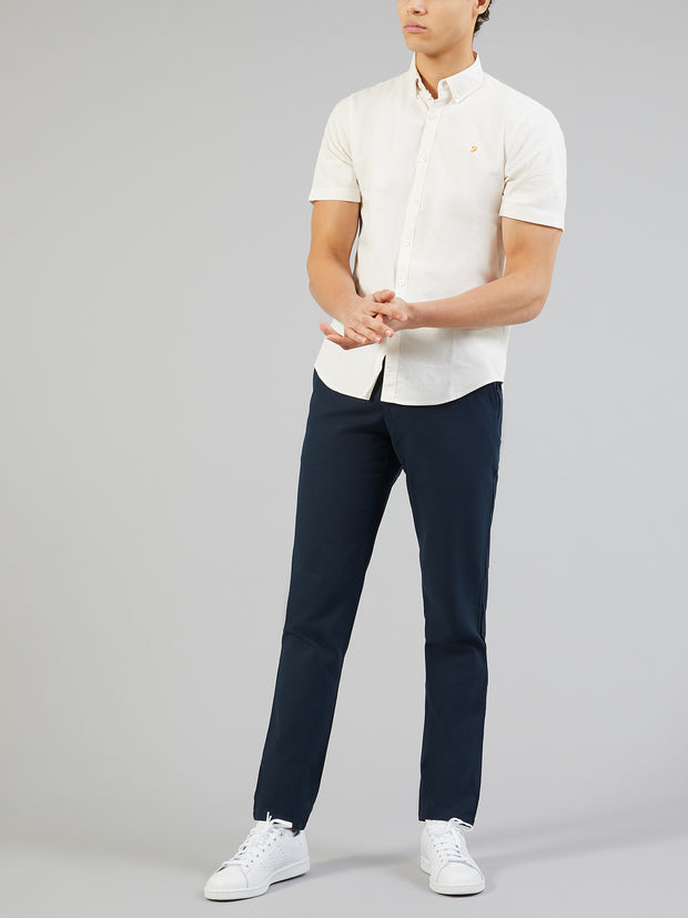 STEEN SLIM FIT SHORT SLEEVE BRUSHED COTTON SHIRT IN ECRU