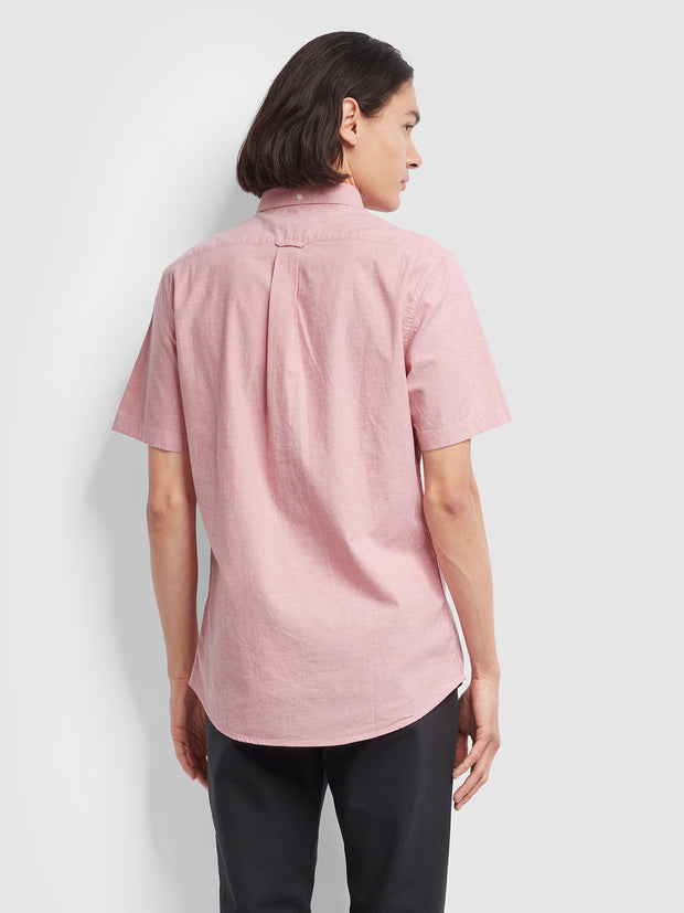 Steen Slim Fit Short Sleeve Brushed Cotton Shirt In Dusty Rose