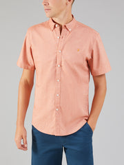 STEEN SLIM FIT SHORT SLEEVE BRUSHED COTTON SHIRT IN GOLDFISH