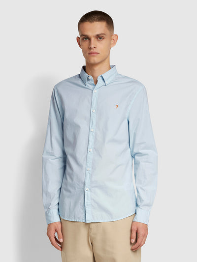 Farley Slim Fit Poplin Shirt In Sky Blue