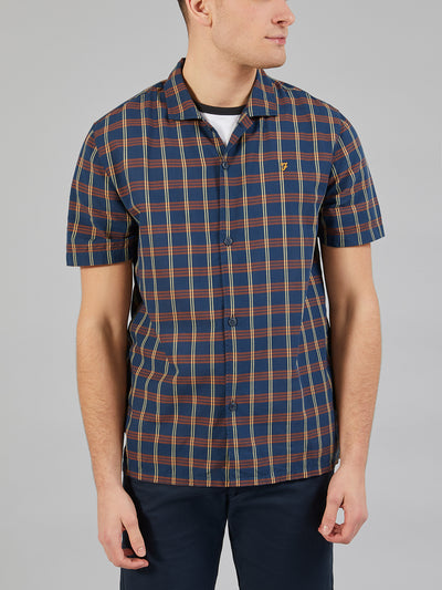 Phantom Short Sleeve Check Shirt In Goldfish