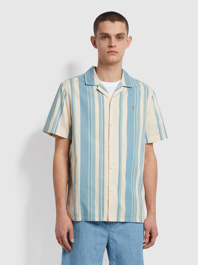 Theroux Casual Fit Short Sleeve Striped Organic Cotton Shirt In Cream