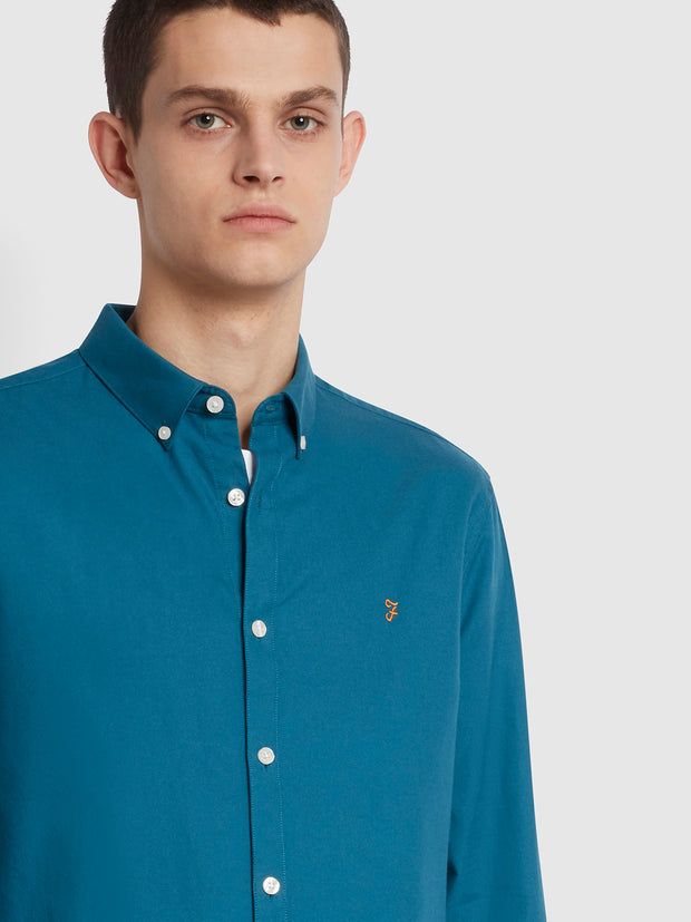 Brewer Slim Fit Organic Cotton Oxford Shirt In Teal