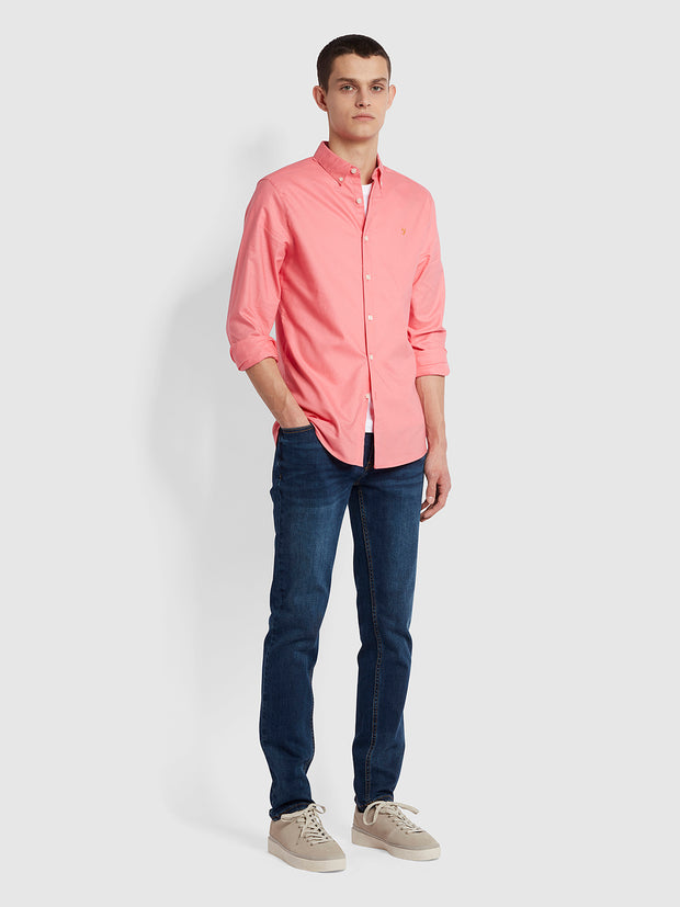 Brewer Slim Fit Organic Cotton Oxford Shirt In Palisade Pink