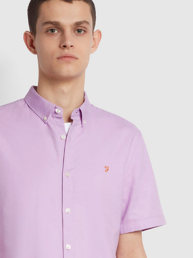 Brewer Slim Fit Short Sleeve Organic Cotton Oxford Shirt In Pink Lavender