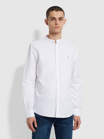 Brewer Slim Fit Grandad Organic Cotton Oxford Shirt In White