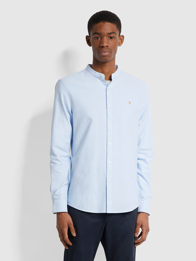 Brewer Slim Fit Grandad Organic Cotton Oxford Shirt In Sky Blue