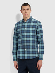 Brewer Slim Fit Check Organic Cotton Oxford Shirt In Reef Green