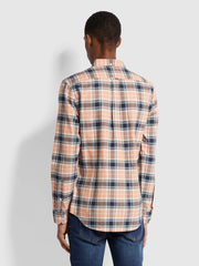 Brewer Slim Fit Check Organic Cotton Oxford Shirt In Peach Solstice