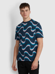 WAVY PRINT T-SHIRT IN YALE