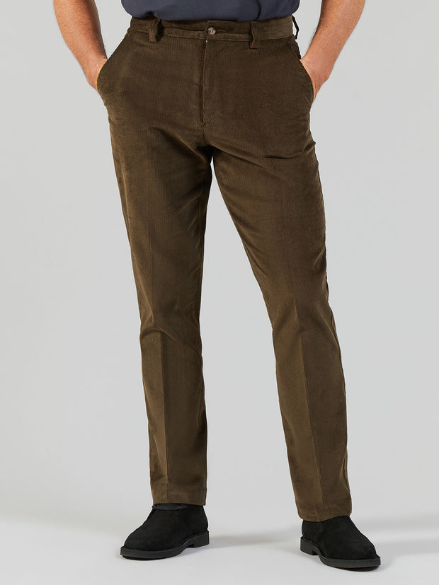 HOWDEN WALE CORD TROUSERS IN DARK OLIVE