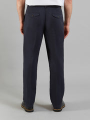 CRANE SOFT TWILL TROUSERS IN NAVY