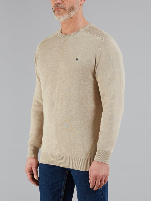 STERN COTTON CREW NECK JUMPER IN OATMEAL