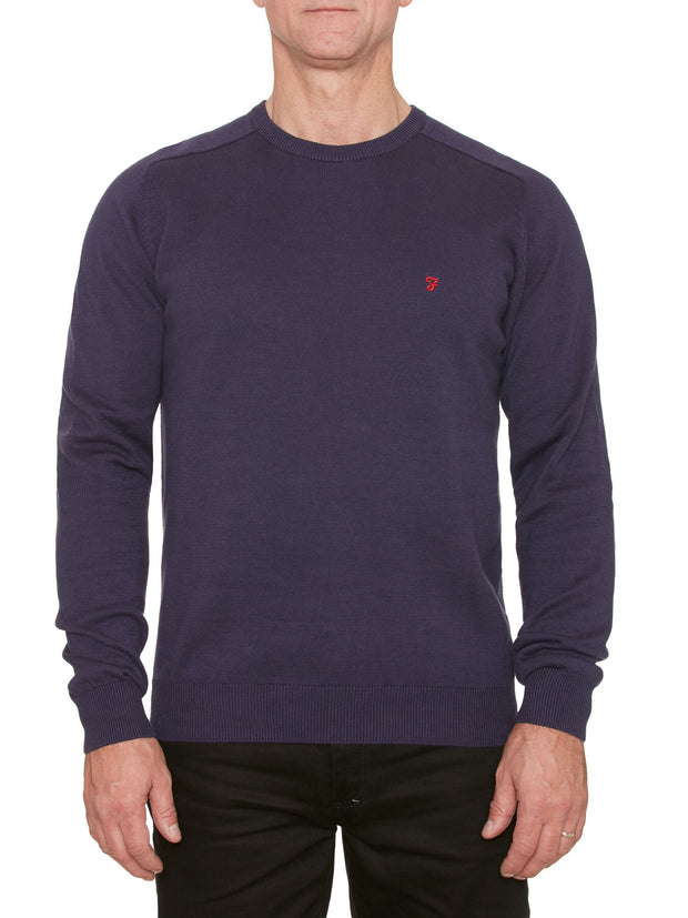 STERN COTTON CREW NECK JUMPER IN PEACOAT BLUE