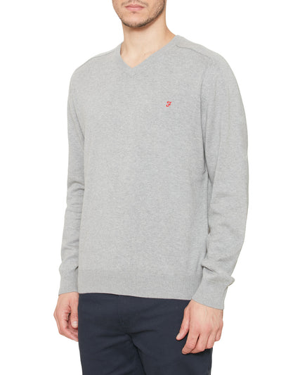 Stern Cotton V Neck Jumper In Grey Melange