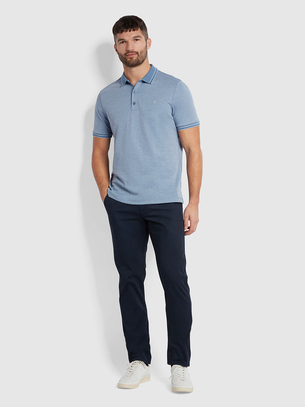Moores Polo Shirt In Dusky Blue