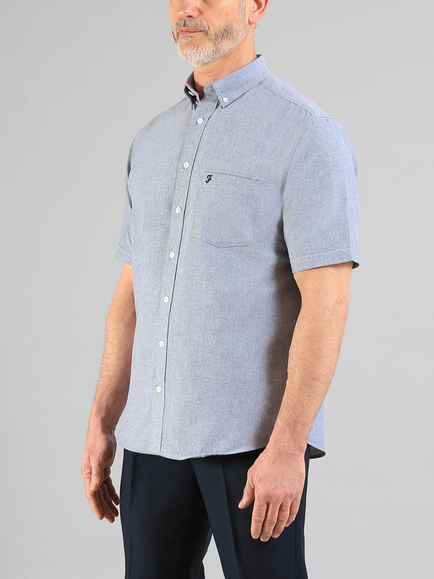 Drayton Short Sleeve Oxford Shirt In Navy