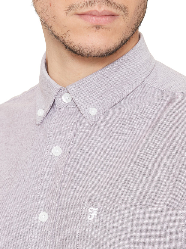 Drayton Short Sleeve Oxford Shirt In Bordeaux