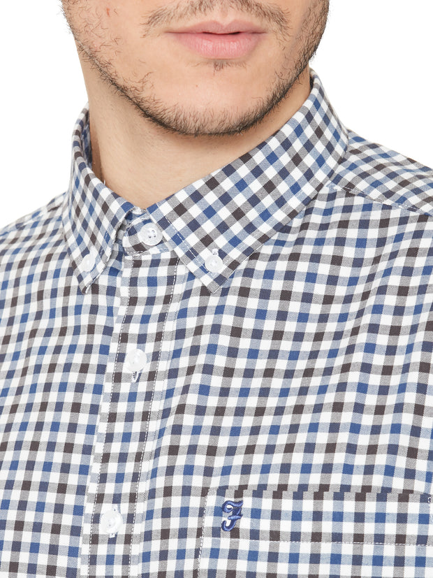 KENN SHORT SLEEVE CHECK SHIRT IN MARINE BLUE