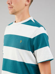 BROOMIELAW STRIPED T-SHIRT IN DARK TEAL