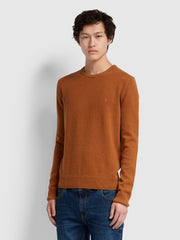 ROSECROFT LAMBSWOOL CREW NECK JUMPER IN SPANISH BROWN