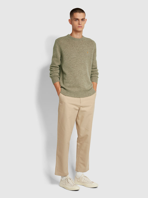 Rosecroft Lambswool Crew Neck Jumper In Taupe Marl