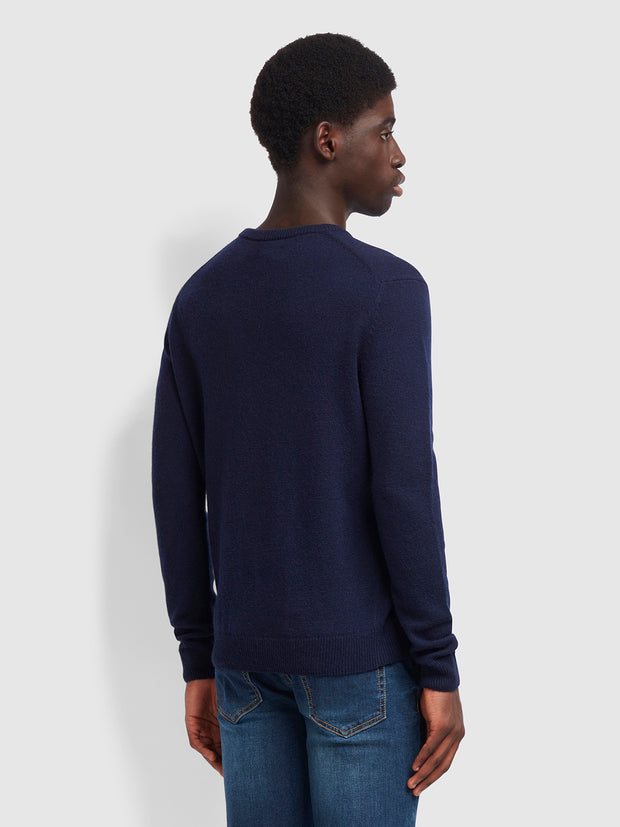 ROSECROFT LAMBSWOOL CREW NECK JUMPER IN TRUE NAVY