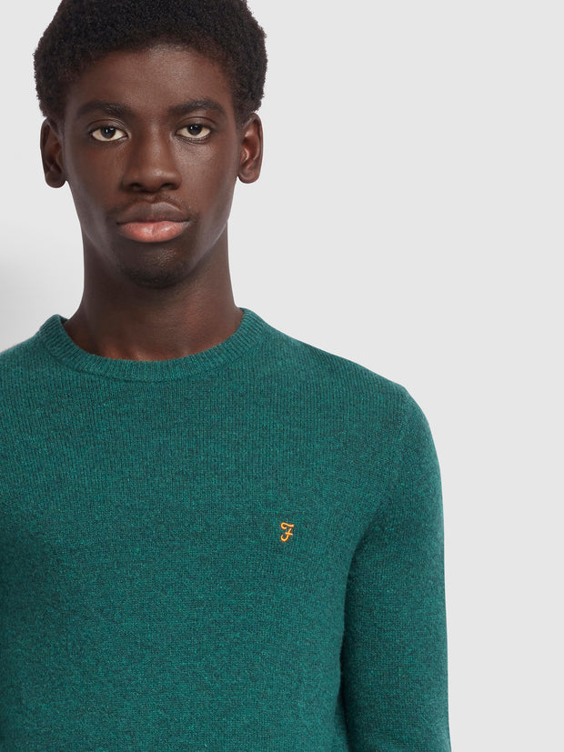 Rosecroft Lambswool Crew Neck Jumper In Emerald Green