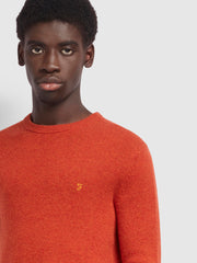 Rosecroft Lambswool Crew Neck Jumper In Farah Russet