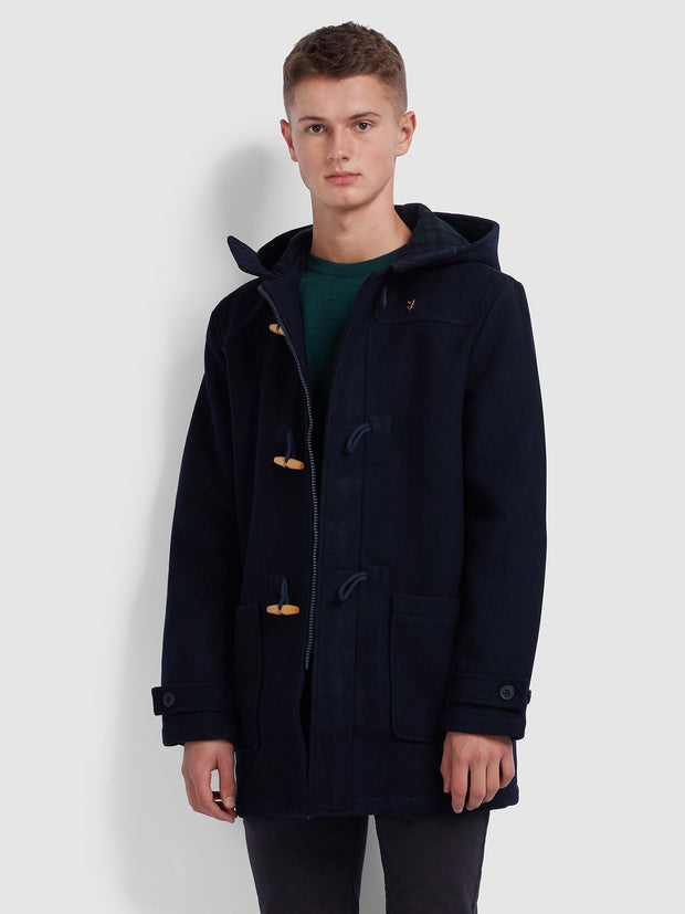 POPPLETON WOOL BLEND DUFFLE COAT IN TRUE NAVY