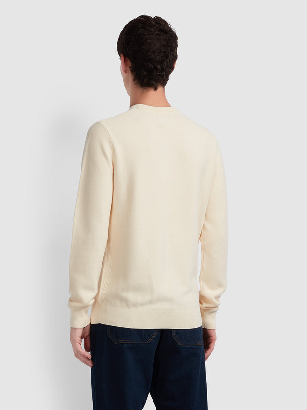 Delta Cotton Textured Crew Neck Jumper In Cream