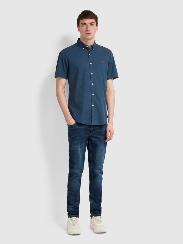 Steen Slim Fit Short Sleeve Brushed Cotton Shirt In Farah Teal