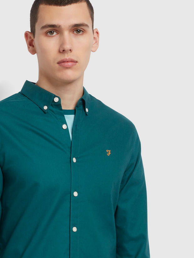Brewer Slim Fit Organic Cotton Oxford Shirt In Dark Teal