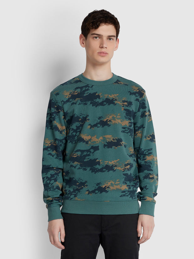 Beresford Cotton Camouflage Print Crew Neck Sweatshirt In Eden Green