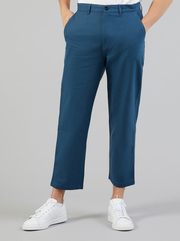 HAWTIN RELAXED FIT HOPSACK CROPPED TROUSERS IN BLUE STAR