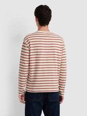 BARRIO CASUAL FIT LONG SLEEVE STRIPED T-SHIRT IN CREAM