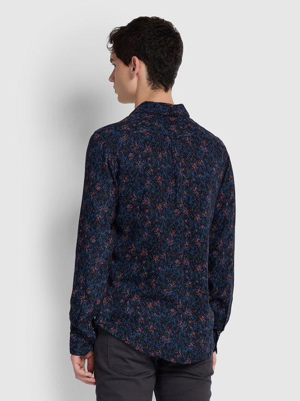 Blackstar Slim Fit Printed Shirt In Deep Black