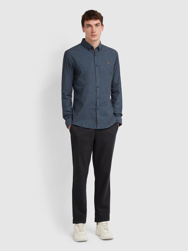 STEEN SLIM FIT BRUSHED COTTON OXFORD SHIRT IN YALE