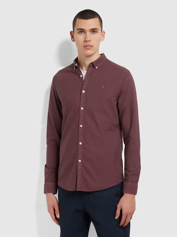 Brewer Slim Fit Dyed Organic Cotton Oxford Shirt In Purple Dusk