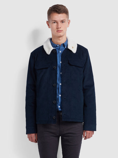 KINGSLAND BORG LINED CORDUROY JACKET IN TRUE NAVY