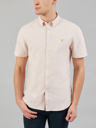Brewer Slim Fit Short Sleeve Oxford Shirt In Pink
