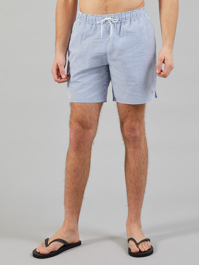 Colbert Seersucker Swim Shorts In Royal