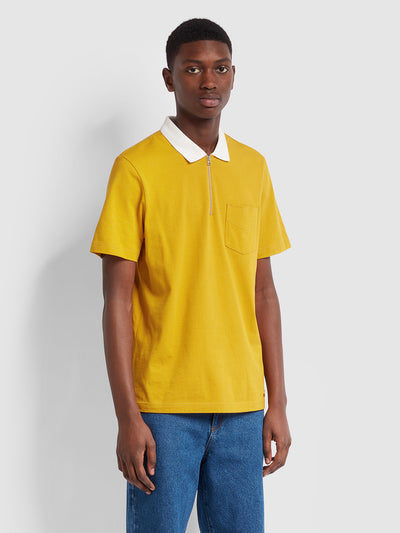 Farah X YMC Lubbock Polo Shirt In Golden Yellow