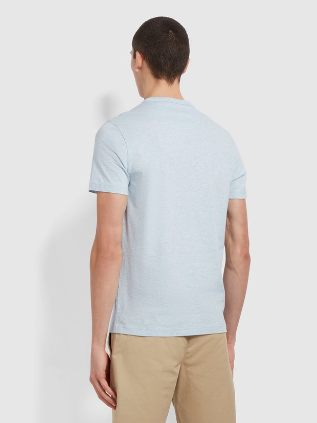 Danny Slim Fit Organic Cotton T-Shirt In Blue Nickle Marl