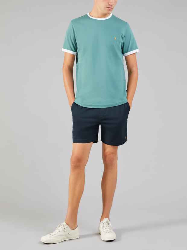 GROVES SLIM FIT RINGER T-SHIRT IN GREEN BISCUIT