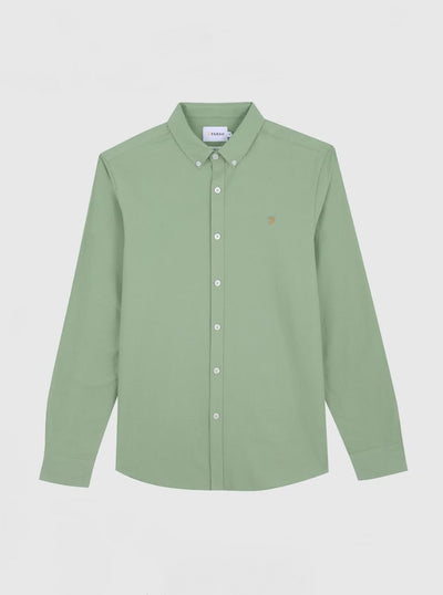 Brewer Slim Fit Oxford Shirt In Green Haze